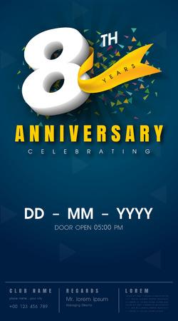 8 years anniversary invitation card - celebration template design , 8th anniversary modern design elements, dark blue background - vector illustration Stock Illustratie