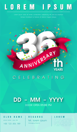 number 36: 36 years anniversary invitation card or emblem - celebration template design , 36th anniversary modern design elements with background polygon and pink ribbon - vector illustration