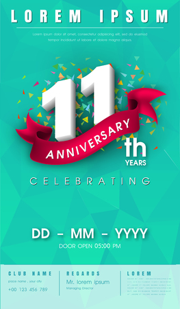 11 years anniversary invitation card or emblem - celebration template design , 11th anniversary modern design elements with  background polygon and pink ribbon - vector illustration.
