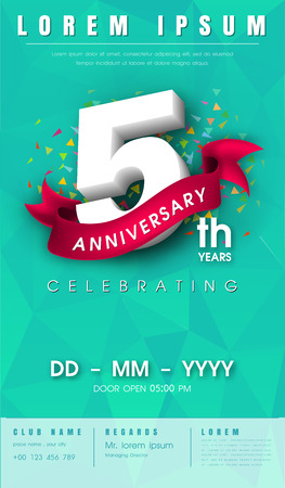 5 years anniversary invitation card or emblem - celebration template design , 5th anniversary modern design elements with  background polygon and pink ribbon - vector illustration.