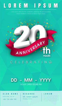20 years anniversary invitation card or emblem - celebration template design , 20th anniversary modern design elements with  background polygon and pink ribbon - vector illustration.