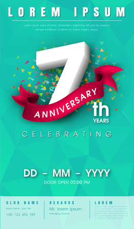 l background: 7 years anniversary invitation card or emblem - celebration template design , 7th anniversary modern design elements with l background polygon and pink ribbon - vector illustration.