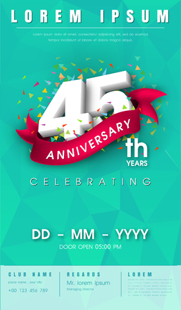 adorn: 45 years anniversary invitation card or emblem - celebration template design , 45th anniversary modern design elements with background polygon and pink ribbon - vector illustration