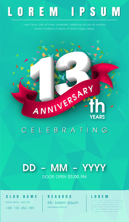 13 years anniversary invitation card or emblem - celebration template design , 13th anniversary modern design elements with  background polygon and pink ribbon - vector illustration.