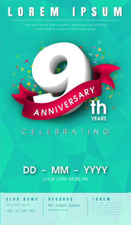 9 years anniversary invitation card or emblem - celebration template design , 9th anniversary modern design elements with background polygon and pink ribbon - vector illustration.