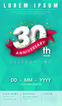 30th: 30 years anniversary invitation card or emblem - celebration template design , 30th anniversary modern design elements with background polygon and pink ribbon - vector illustration