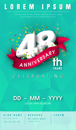 adorn: 48 years anniversary invitation card or emblem - celebration template design , 48th anniversary modern design elements with background polygon and pink ribbon - vector illustration