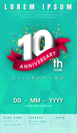 10 years anniversary invitation card or emblem - celebration template design , 10th anniversary modern design elements with background polygon and pink ribbon - vector illustration.