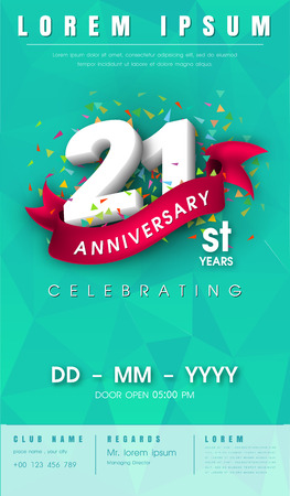 21 years anniversary invitation card or emblem - celebration template design , 21st anniversary modern design elements with background polygon and pink ribbon - vector illustration Illustration