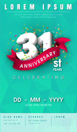 31 years anniversary invitation card or emblem - celebration template design , 31st anniversary modern design elements with background polygon and pink ribbon - vector illustration