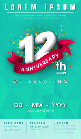 12 years anniversary invitation card or emblem - celebration template design , 12th anniversary modern design elements with background polygon and pink ribbon - vector illustration. 向量圖像
