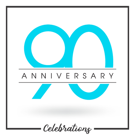 90th: Anniversary emblems 90 anniversary template design Illustration