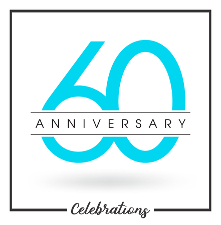 60th: Anniversary emblems 60 anniversary template design Illustration