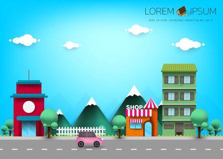 Village. Small town. Rural and urban summer landscape. Vector flat illustration. Illustration