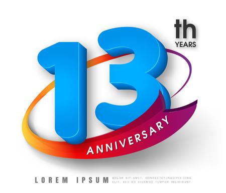 13th: Anniversary emblems 13 anniversary template design