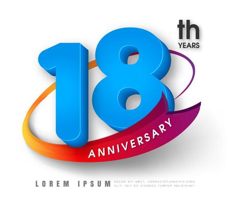 happy 18th birthday: Anniversary emblems 18 anniversary template design