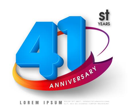 Anniversary emblems 41 anniversary template design Illustration