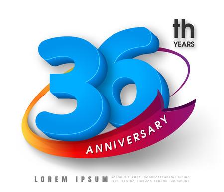 36: Anniversary emblems 36 anniversary template design