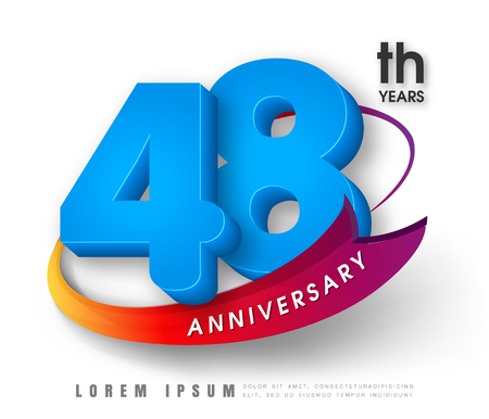 Anniversary emblems 48 anniversary template design Illustration