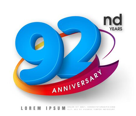 92: Anniversary emblems 92 anniversary template design