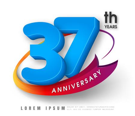 Anniversary emblems 37 anniversary template design Illustration