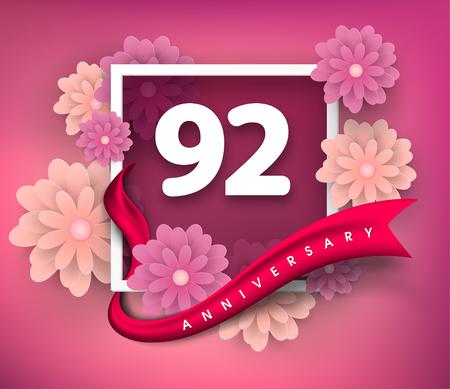 92: 92 anniversary invitation card