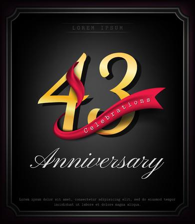 Anniversary emblems 43 anniversary template design Illustration