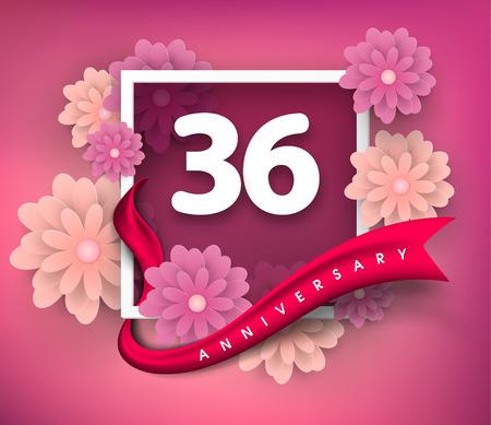36: 36 anniversary invitation card