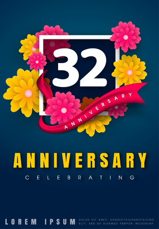 32 years anniversary invitation card - celebration template design , 32nd anniversary with flowers and modern design elements, dark blue background - vector illustration