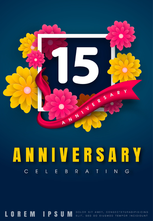 adorn: 15 years anniversary invitation card - celebration template design , 15th anniversary with flowers and modern design elements, dark blue background - vector illustration Illustration