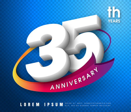 Anniversary emblems 35 anniversary template design