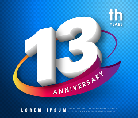 Anniversary emblems 13 anniversary template design