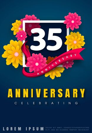 35th: 35 years anniversary invitation card - celebration template design , 35th anniversary with flowers and modern design elements, dark blue background - vector illustration