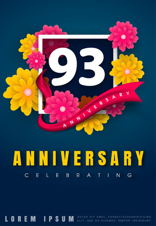 adorn: 93 years anniversary invitation card - celebration template design , 93rd anniversary with flowers and modern design elements, dark blue background - vector illustration Illustration