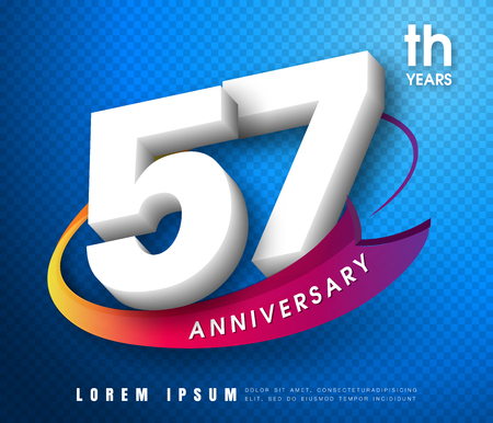 57: Anniversary emblems 57 anniversary template design Illustration