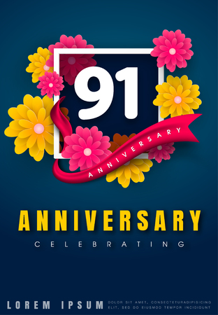 adorn: 91 years anniversary invitation card - celebration template design , 91st anniversary with flowers and modern design elements, dark blue background - vector illustration Illustration