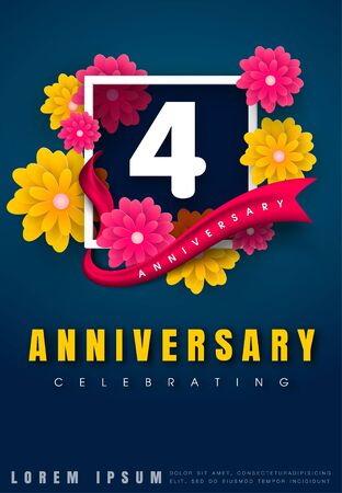 adorn: 4 years anniversary invitation card - celebration template design , 4th anniversary with flowers and modern design elements, dark blue background - vector illustration