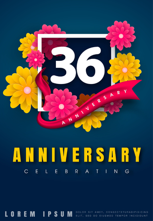 number 36: 36 years anniversary invitation card - celebration template design , 36th anniversary with flowers and modern design elements, dark blue background - vector illustration
