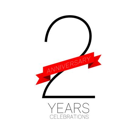 Anniversary emblems 2 anniversary template design Illustration