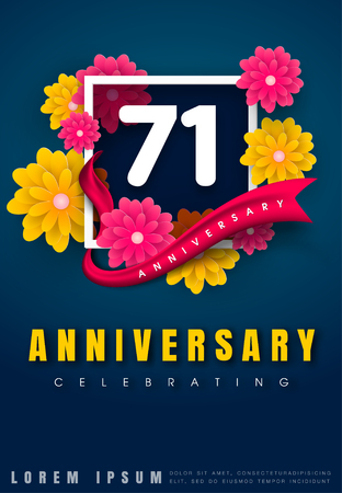 adorn: 71 years anniversary invitation card - celebration template design , 71st anniversary with flowers and modern design elements, dark blue background - vector illustration Illustration