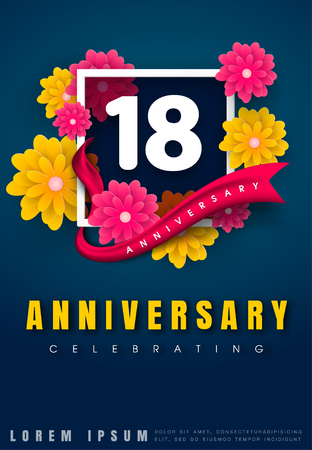 18 years anniversary invitation card - celebration template design , 18th anniversary with flowers and modern design elements, dark blue background - vector illustration