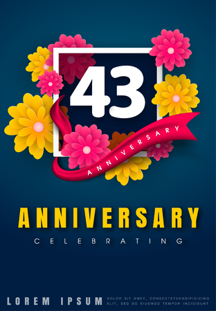 43 years anniversary invitation card - celebration template design , 43rd anniversary with flowers and modern design elements, dark blue background - vector illustration Illustration