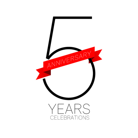 Anniversary emblems 5 anniversary template design