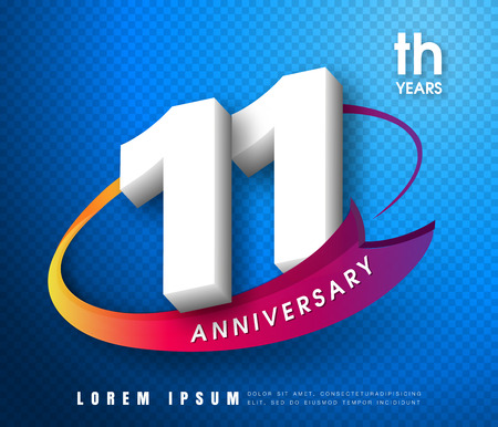 11th: Anniversary emblems 11 anniversary template design