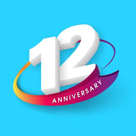 Anniversary emblems 12 anniversary template design