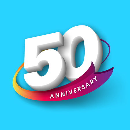 Anniversary emblems 50 anniversary template design Illustration