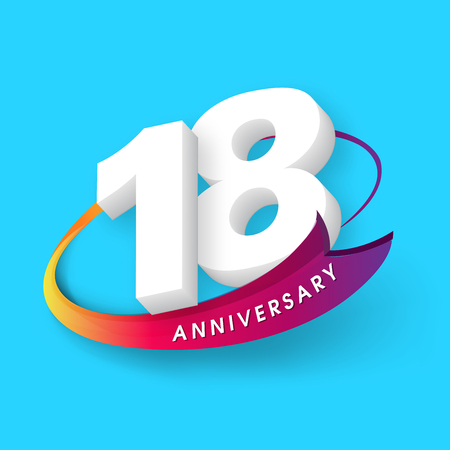 Anniversary emblems 18 anniversary template design