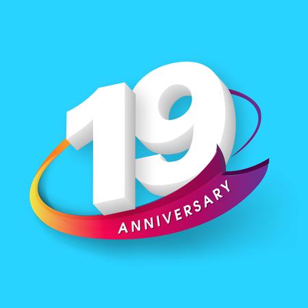 Anniversary emblems 19 anniversary template design