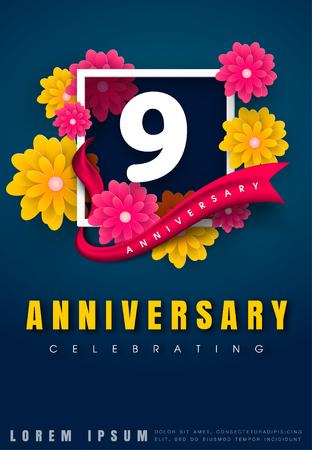 9 years anniversary invitation card - celebration template design , 9th anniversary with flowers and modern design elements, dark blue background - vector illustration Illustration