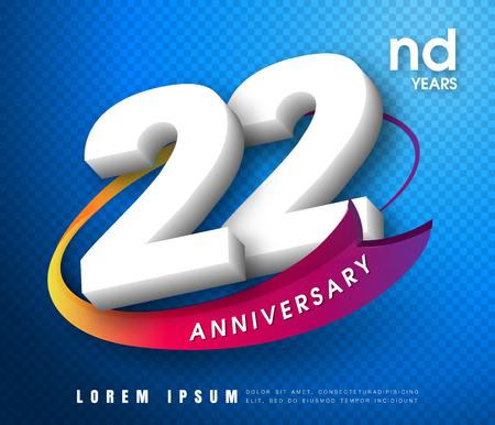 Anniversary emblems 22 anniversary template design Illustration